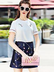 Damen Stickerei Street Schick Lässig/Alltäglich Set Rock Anzüge,Rundhalsausschnitt Sommer Kurzarm Weiß Baumwolle / Polyester Dünn