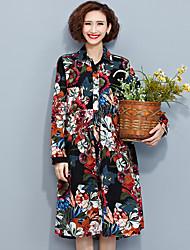 Damen Blumen Einfach Lässig/Alltäglich T-shirt,Hemdkragen Frühling Langarm Schwarz Baumwolle Mittel