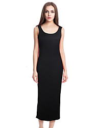 Women's Casual/Daily Street chic Bodycon Dress,Solid Strap Maxi Sleeveless Black / Yellow Polyester / Spandex Summer