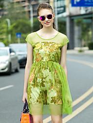 va femmes sur gaine chinoiserie dressfloral col rond au-dessus du genou à manches courtes vert