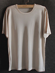 Men's Solid Casual T-Shirt,Silk Short Sleeve-Black / Brown / White / Beige / Gray