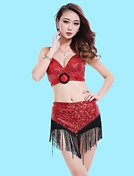 Latin Dance Outfits Women's Performance Polyester Sequins / Tassel(s) 2 Pieces
