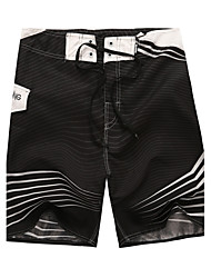 Men's Print Casual Shorts,Polyester Black / White