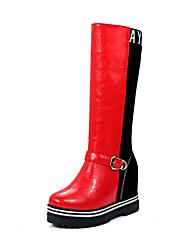 Damen-Stiefel-Büro Lässig Sportlich-Stretch - Satin PU-Flacher Absatz-Komfort-Schwarz Rot Grau Beige