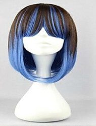 Capless  Blue and Brown  Cosplay  Mix Color Long  Straight Lolita Wig