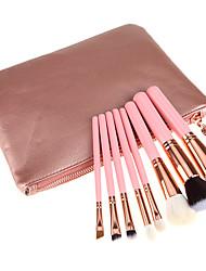 8 Pcs Pink Wood Handle Artificial Hair Makeup Brushes Sets With Bag