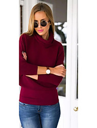 Normal Pullover Femme Décontracté / Quotidien Chic de Rue,Couleur Pleine Rouge Col Roulé Manches Longues Polyester Hiver Fin