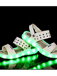 Para Meninas-Sandálias-Light Up Shoes-Rasteiro-Preto Branco Dourado Preto e Vermelho-Couro Ecológico-Casual