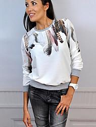 Damen Druck Street Schick Lässig/Alltäglich T-shirt,Rundhalsausschnitt Herbst / Winter Langarm Blau / Weiß / SchwarzBaumwolle /