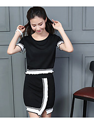 Women's Casual/Daily Simple Summer Set,Solid Round Neck Short Sleeve White / Black Cotton Medium
