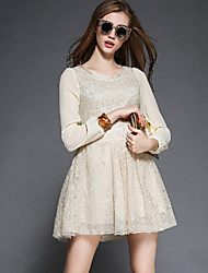 Women's Going out Simple A Line Dress,Solid Round Neck Above Knee Long Sleeve Beige Polyester Fall