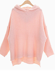 Women's Going out / Cute Regular Pullover,Solid Pink Hooded Long Sleeve Acrylic Spring / Fall Medium