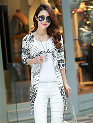 Women's Casual/Daily Simple Long Cardigan,Print White V Neck Long Sleeve Polyester Fall Thin Inelastic