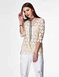 Coeur Soul® Femme Col Arrondi 1/2 Longueur de manches T-shirt Blanc / Jaune-PRE-11414