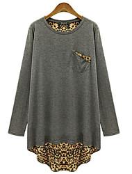 Damen Leopard Street Schick Übergröße T-shirt,Rundhalsausschnitt Frühling Langarm Schwarz / Grau Baumwolle Mittel