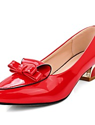 Women's Shoes Patent Leather Summer/ Pointed Toe Heels Office & Career / Casual Low Heel Bowknot Black / Red / Gray