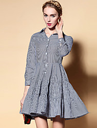 Boutique S Women's Going out Vintage Shirt Dress,Striped Shirt Collar Above Knee Long Sleeve Black Cotton Spring