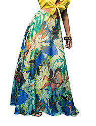 Women's Print Pleated Casual Beach Skirts,Vintage / Boho Maxi