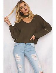 Damen Standard Pullover-Lässig/Alltäglich Street Schick Solide Braun V-Ausschnitt Langarm Polyester Winter Dünn