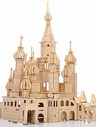 Puzzles Puzzles 3D / Puzzles en bois Building Blocks DIY Toys Château Bois Beige Maquette & Jeu de Construction