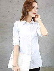 Women's Wild Loose Patchwork Stitching Lace Cotton Long Sleeve Solid White Shirt