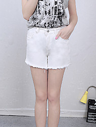 Women's Solid White / Black Jeans / Shorts Pants,Simple