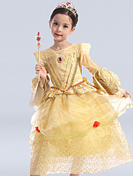Ball Gown Tea-length Flower Girl Dress - Satin / Tulle / Polyester Long Sleeve Scoop with Sequins