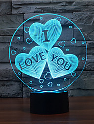 I LOVE YOU Touch Dimming 3D LED Night Light 7Colorful Decoration Atmosphere Lamp Novelty Lighting Christmas Light