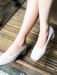 Черный / Розовый / Белый-Женский-Для прогулок-Дерматин-На толстом каблуке-На каблуках-Обувь на каблуках
