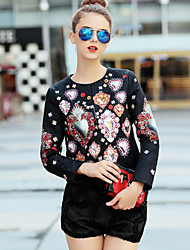 Women's Going out Sophisticated Spring Set PantFloral / Jacquard Round Neck Long Sleeve Black