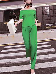 Женский На каждый день Осень Набор Брюки Вырез лодочкой,Уличный стиль Однотонный Красный / Зеленый С короткими рукавами,Лён /