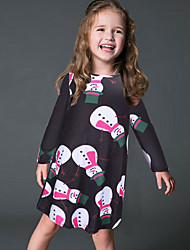 Girl's Casual/Daily Print DressPolyester Spring / Fall Black / Red