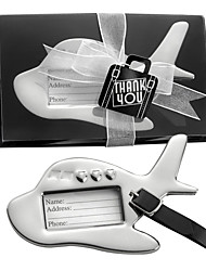 "Chrome ""Bon Voyage"" Silver-Finish Airplane Luggage Tag, Travel Tag Place Card Holder Wedding Favors"