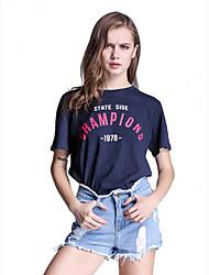 Damen Druck Street Schick Lässig/Alltäglich T-shirt,Rundhalsausschnitt Sommer Kurzarm Blau / Weiß Baumwolle Mittel