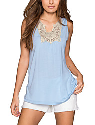 Women's Plus Size / Going out Sexy Summer Tank Top,Patchwork Asymmetrical Sleeveless Blue Polyester Thin
