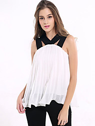Women's Casual/Daily / Beach / Holiday Sexy / Simple Summer Blouse,Solid Strap Sleeveless Red / White Others Thin