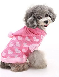 Cat Dog Sweater Hoodie Dog Clothes Winter Hearts Cute Fashion Keep Warm Blue Pink