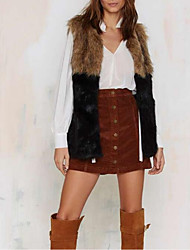 Women's Casual/Daily Street chic Fur Coat,Solid Round Neck Sleeveless Fall / Winter Yellow Faux Fur Thick Faux Fur Vest
