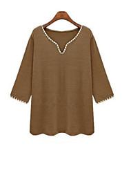 Damen Einfarbig Einfach Lässig/Alltäglich T-shirt,V-Ausschnitt Herbst ¾-Arm Weiß / Grün Leinen Undurchsichtig