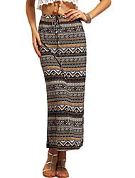 Women's Geometric Multi-color Skirts,Boho Maxi