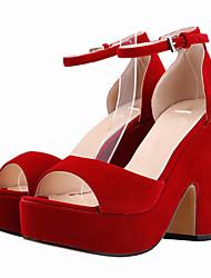 Women's Shoes Fabric Chunky Heel Heels / Peep Toe / Platform Sandals Wedding / Party & Evening