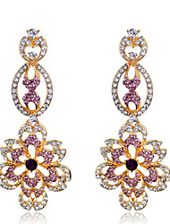 Women's Elegant AAA Zircon Crystal Purple Drop Earrings for Wedding Party, Fine JewelryImitation Diamond Birthstone