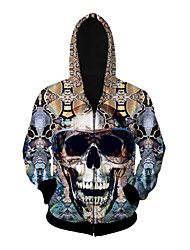 3D  Hoodie Long Sleeve Glasses Skull Printing Clothing