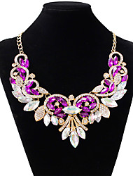 Women's Choker Necklaces Simulated Diamond Alloy Drop Fashion White Purple Red Jewelry Wedding Party 1pc