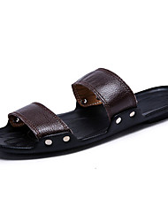 Unisex Sandals Summer Sandals PU Casual Flat Heel Studded Black / Blue / Brown / Yellow / White Others