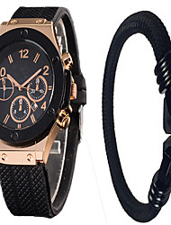 Watch Men Bracelets Watch Sets relogios Braceletes Silicone Watch Men Sport Quartz-Watch relogio feminino Black