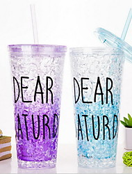Summer Glass Ice Cup Straw Cup Handy Juice Cup (Random Color)