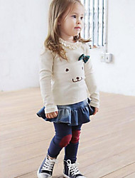 Girl's Casual/Daily Patchwork Jeans / Clothing Set,Cotton Spring / Fall Pink / White