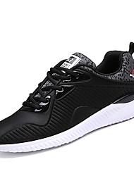 Masculino-Tênis-Conforto-Rasteiro-Preto e Vermelho Preto e Branco-Tule-Ar-Livre Casual Para Esporte