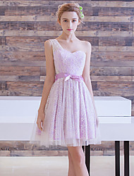 A-Line One Shoulder Short / Mini Lace Cocktail Party Prom Dress with Bow(s) Lace Sash / Ribbon